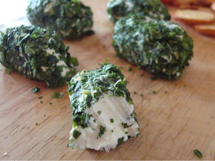 Labneh or Yoghurt cheese rolled in fresh herbs, copyright Lucy at Life and cheese