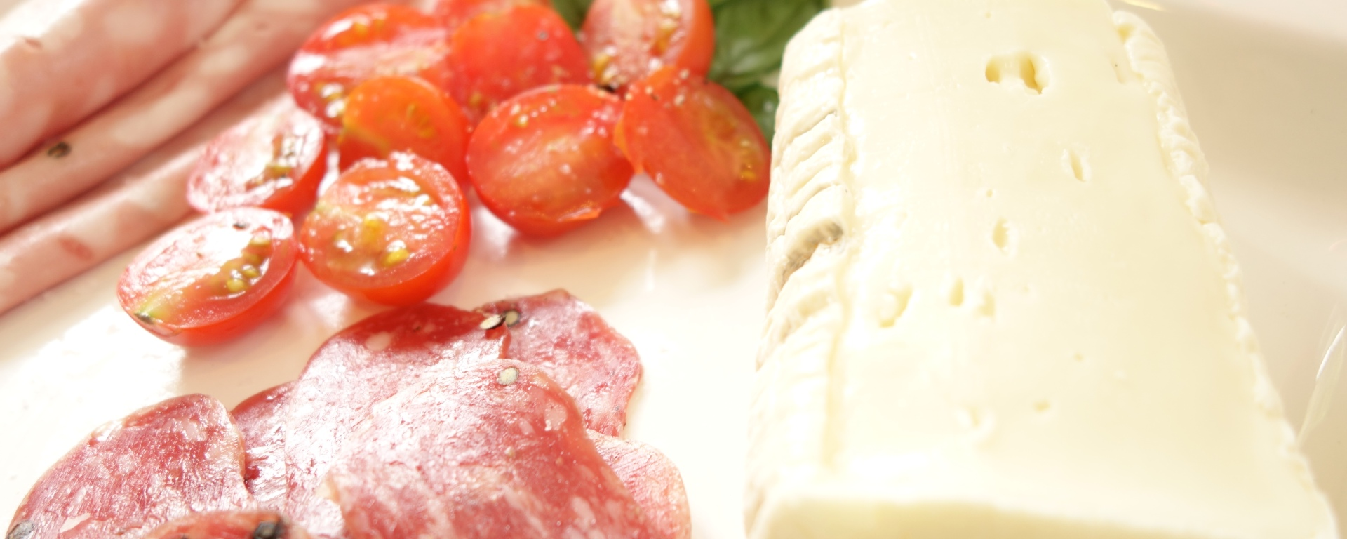 Taleggio, Mortadella, Arbuzzo salami and sunny cherry tomatoes.
