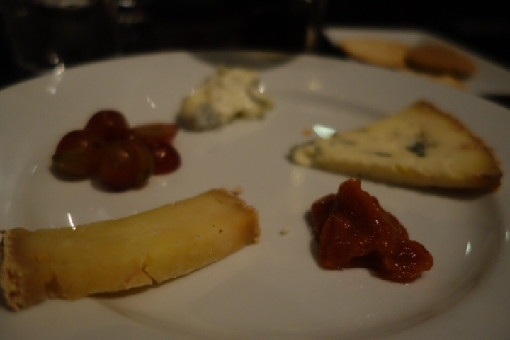 Saint Maure, Stichelton and Vacherin, served with qince paste and crackers.