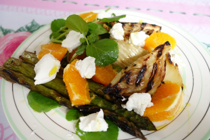 A salad of grilled fennel, watercress, orange and chevre.
